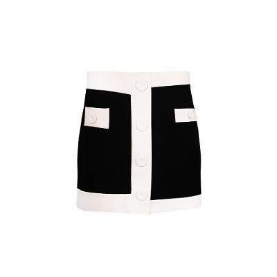 colour block mini skirt black and white